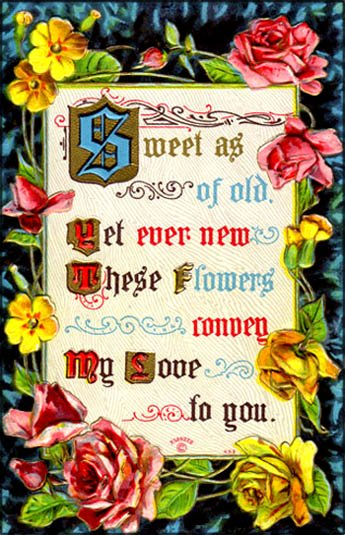 Free printable Valentine Card: Old style card with roses and Valentine Poems.