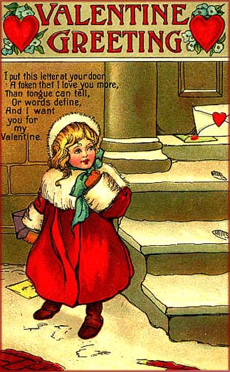 Litlle girl in red standing outside in the snow. There's a letter at the door. Vintage Valentine cards to print.