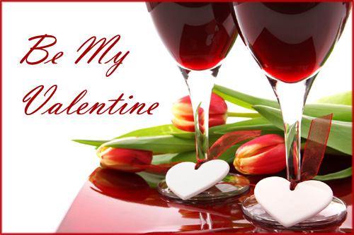 Free printable Valentines. Photo of glasses with red wine, tuplips and two white hearts.