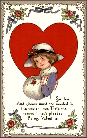 Free Valentines Day pictures with a little girl in a hat in front of a big red heart.
