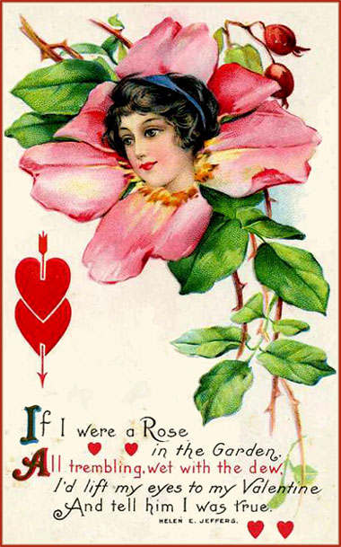 Free printable Valentine postcards in vintage style. Drawing of pink rose with woman's head in the middle and cute Valentine poem.