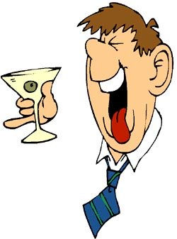 Funny alcohol jokes: Funny drawing of drunk man with a martini drink.