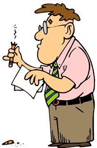 Funny jokes: Funny drawing of nerd man with broken pencil.
