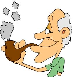Really funny jokes: Funny drawing of old man with a pipe.