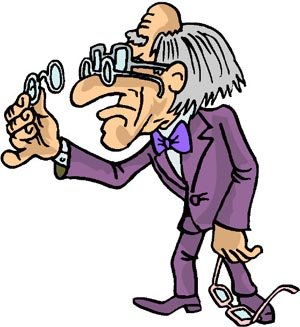 Really funny drawing of old man with three pairs of glasses. Old short sighted man.