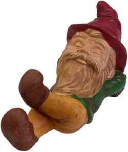 Quick jokes: funny gnome sleeping on his back