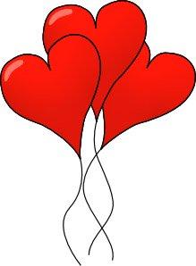 3 love heart ballons