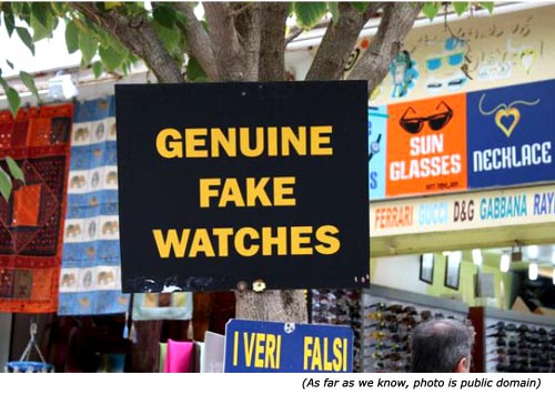 Hilarious sales signs: Genuine Fake Watches!