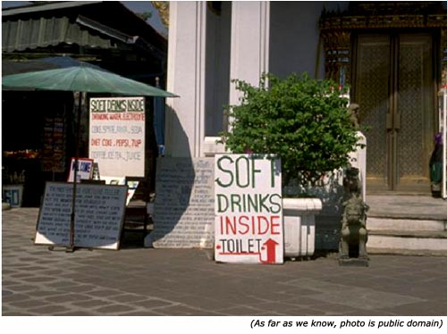 Hilarious sales signs: Soft drinks inside toilet!