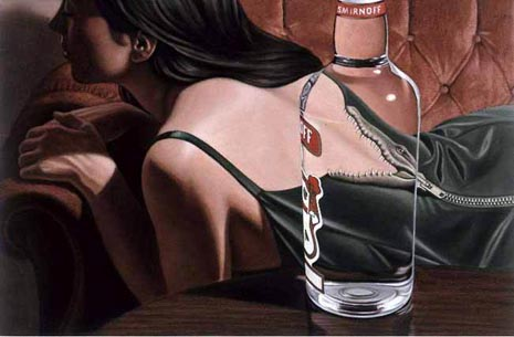 Smirnoff ad with crocodile down woman's breast - best alcohol ads