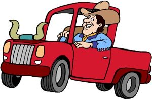 State slogans texas: funny drawing of Texan in station car.