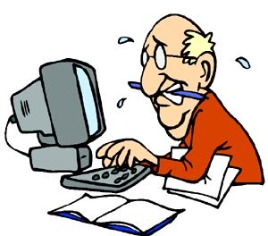 Funniest stress quiz online: Totally stressed out man working at the computer in his office.