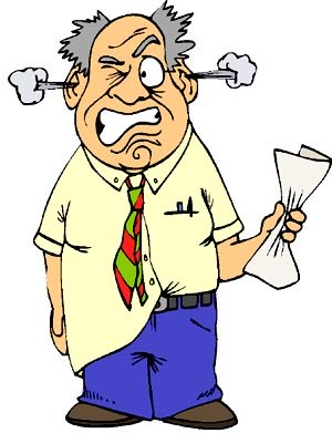 Funny drawing of stressed man with steam coming out of his ears.