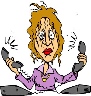 Hilarious stress test: Funny picture of woman getting stressed by the phones.