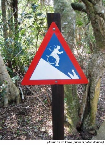 Silly signs: Funny handicap sign with man in wheel chair going down hill towards crocodile