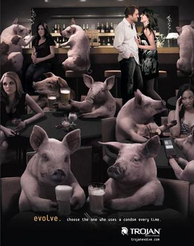 Trojan condoms funny ads: Evolve. choose the one who uses a condom every time: pigs in a bar