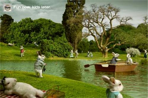 FunnyTulipan condom ads: fun now kids later - bunnies having fun