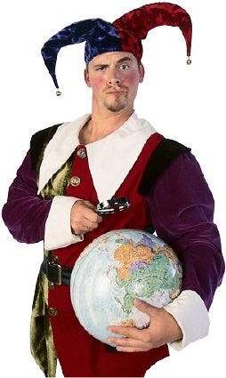 Picture of a funny man with a globe in his hand.