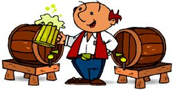 Unusual gifts for men: picture of man next to barrels of beer.