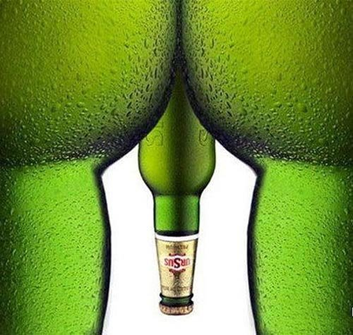 Ursus beer commercials - Green bottles that look like thighs and penis!