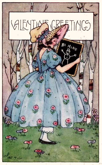 Vintage Valentine's Day card in Art Nouveau style: Woman in dress holding a small blackboard in her hands.
