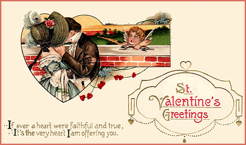Valentine picture with couple kissing and cupid hiding behind a wall. Sweet Valentine poetry.