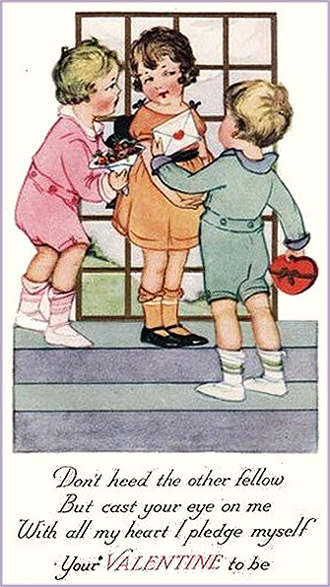 Cute Valentine pictures: Two small boys flirting with little girl trying to win her heart.