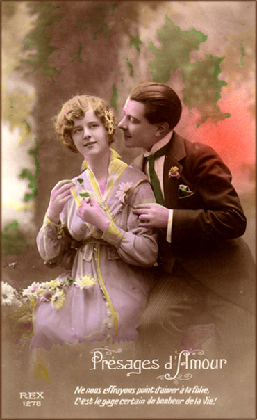 Old Valentine Photograph of man wooing his woman and a French love poem at the bottom.