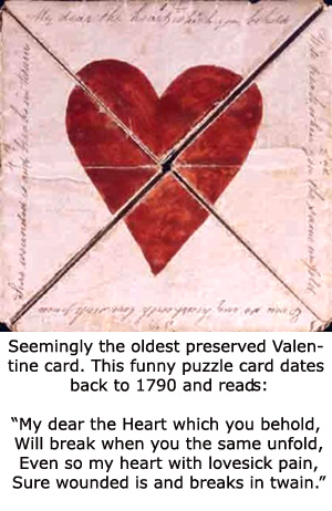 Free Valentines Day cards: The oldest card in existence from 1790.