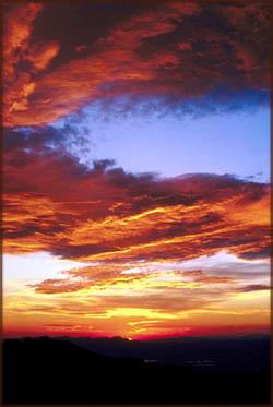 Photo of orange sunset on blue sky.
