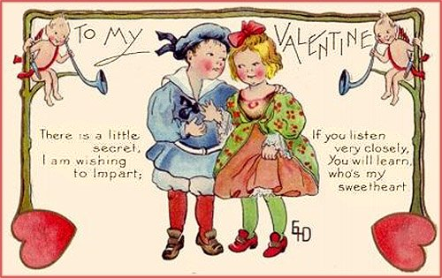 Sweet Valentine cards of children: Here the boy is whispering his Valentine greetings to a little girl.