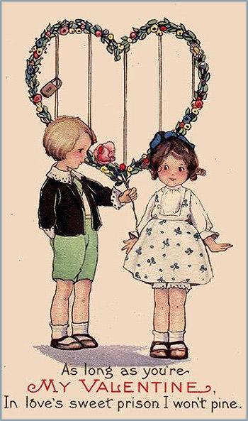 Sweet Valentine of boy handing little girl a very big rose.