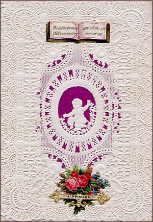 Old antique Valentine card with lace.