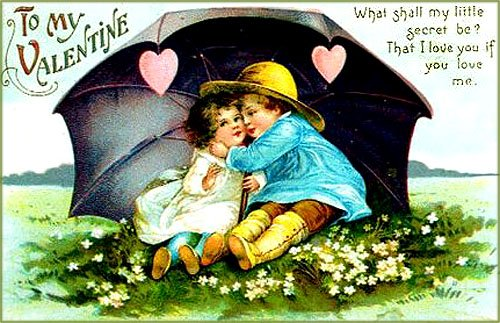 Pretty Valentines Day pictures with kids sitting under a big umbrella. The boy is just about to give the little girl a kiss.