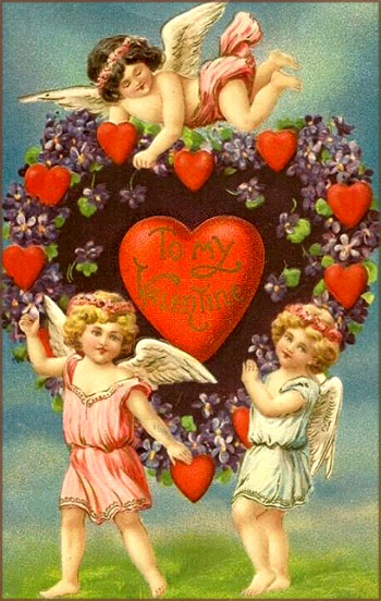 Free Valentine picture in vintage style: Three angels around a great big heart with Valentine greetings.