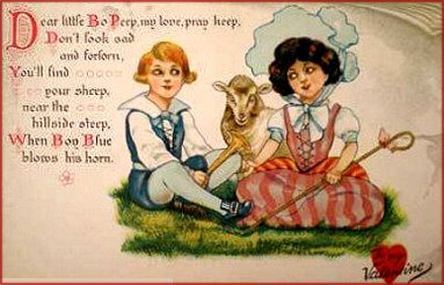 Cute Valentines Day card of little girl shepherd and little boy.