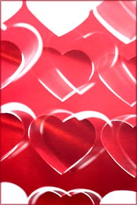 Romantic Valentine hearts: Red hearts graphic.