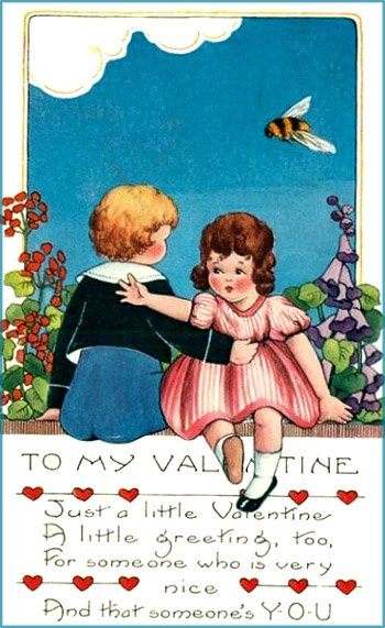 Free Valentine postcard: Vintage picture of two children and a big bee.