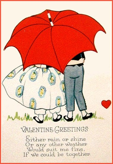 Free Valentines postcards in vintage style: man and woman standing together under a big red umbrella.