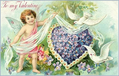 Many Valentine cards feature cupids. Here is a cute cupid with butterfly wings and lots of purple flowers forming a heart.