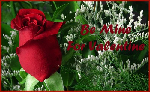 Photo of single red rose in green bouquet. Free Printable Valentine cards.