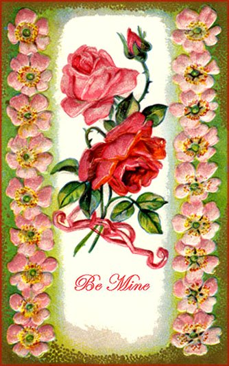 Free Valentine cards gallery: Drawing of two roses, a red rose and a pink rose.