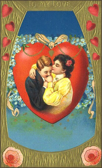 Victorian Valentine pictures: Man kissing a woman's hand.