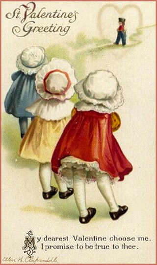 3 hopeful girls staring at a boy. Free Valentine pictures.
