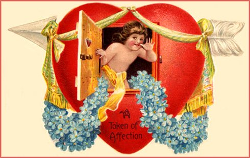 Free Valentine's collection: Little child peeping out through window in big red heart.