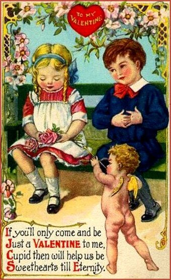 Free Valentines cards: Two kids on a bench and cupid pointing his arrow at the girl.
