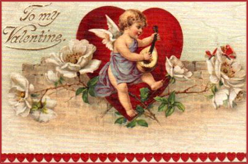 Old Valentines Day postcard: Little angel or cupid playing on a guitar like instrument.