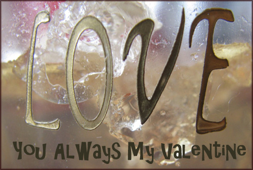 Modern Valentines Day cards: Photo of 'love' written on glass.