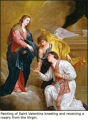 Painting of Saint Valentine receiving a rosary from the Virgin.