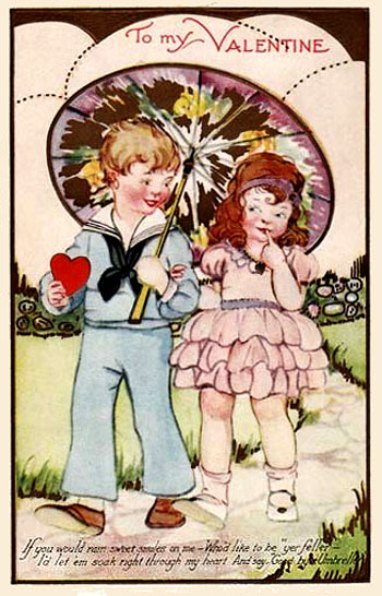 Valentine greeting card: Two kids walking under a big umbrella.